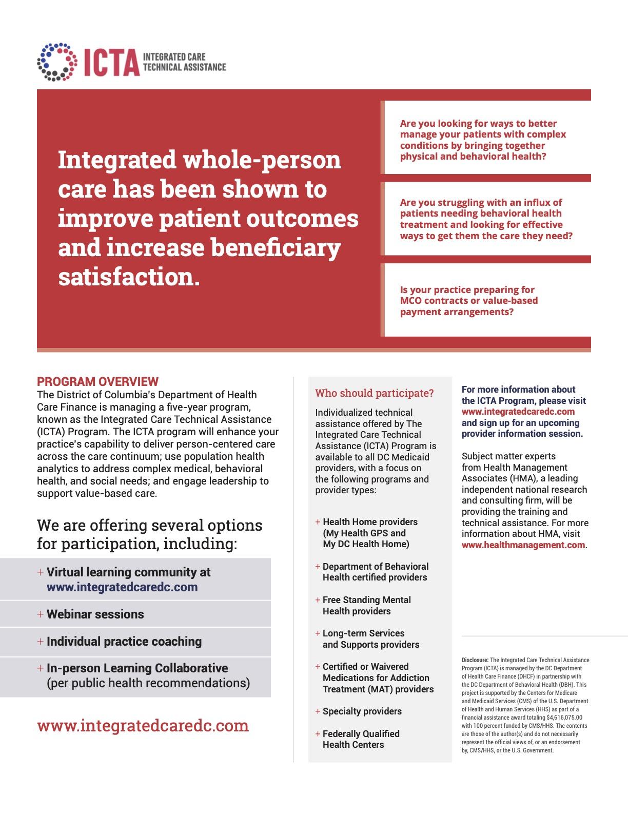 HMA Integrated Care Technical Assistance Handout